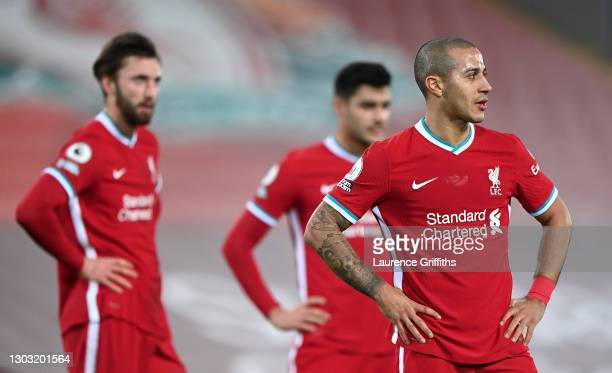 Thiago of Liverpool looks dejected during the Premier League match between Liverpool and Everton at Anfield on February 20, 2021 in Liverpool,...