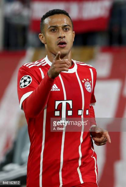 Thiago of Muenchen celebrates after he scores the 2nd goal during the UEFA Champions League group B match between Bayern Muenchen and RSC Anderlecht...
