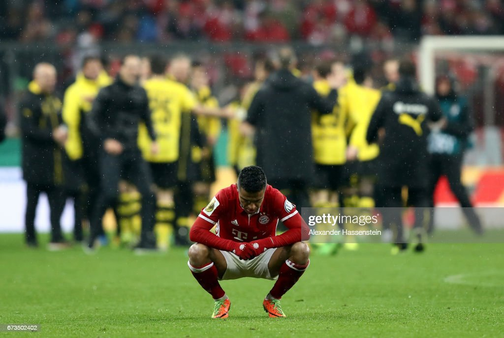 Thiago of Muenchen reacts during the DFB Cup semi final match between FC Bayern Muenchen and Borussia Dortmund at Allianz Arena on April 26, 2017 in Munich, Germany.