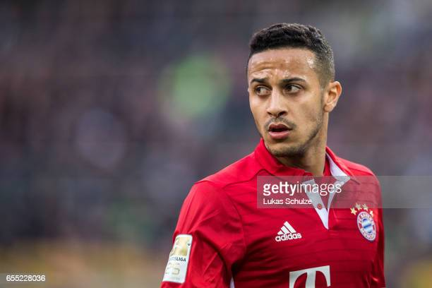 Thiago of Munich is seen during the Bundesliga match between Borussia Moenchengladbach and Bayern Muenchen at BorussiaPark on March 19 2017 in...