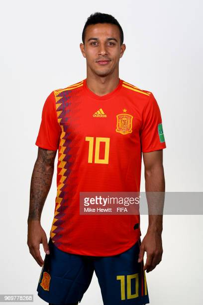 Thiago of Spain poses for a portrait during the official FIFA World Cup 2018 portrait session at FC Krasnodar Academy on June 8 2018 in Krasnodar...