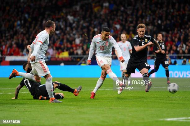 Thiago of Spain scores his sides fourth goal during the International Friendly between Spain and Argentina on March 27 2018 in Madrid Spain