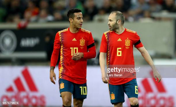 Thiago of Spain speaks with Andres Iniesta during the International Friendly match between Germany and Spain at EspritArena on March 23 2018 in...