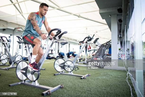 Thiago prepares for a training session at day five of the Bayern Muenchen training camp at Aspire Academy on January 07 2019 in Doha Qatar