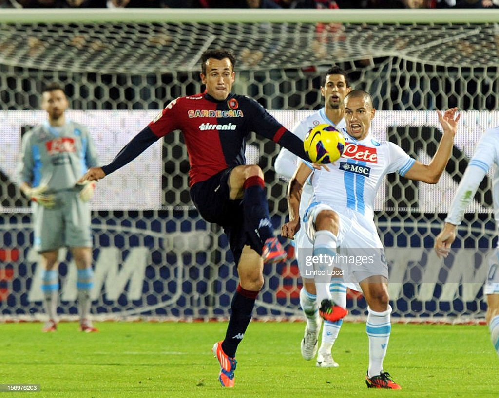 Thiago Ribeiro of Cagliari in action during the Serie A match between Cagliari Calcio and SSC Napoli at Stadio Sant'Elia on November 26, 2012 in Cagliari, Italy.