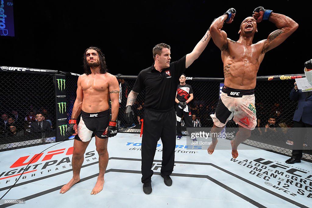 Thiago Santos celebrates his win over Elias Theodorou in their middleweight bout during the UFC Fight Night event at The Chelsea at the Cosmopolitan of Las Vegas on December 10, 2015 in Las Vegas, Nevada.