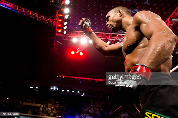 Thiago Santos of Brazil celebrates after defeating Nate Marquardt of Brazil in their middleweight bout during the UFC 198 at Arena da Baixada stadium...