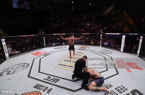 Thiago Santos of Brazil celebrates his victory over Anthony Smith in their middleweight bout during the UFC Fight Night event at Mangueirinho Arena...