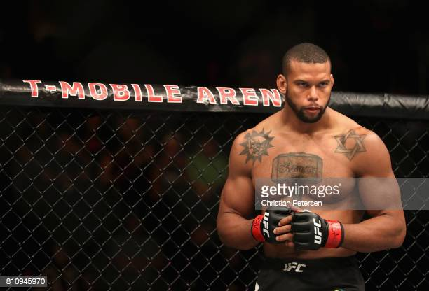 Thiago Santos of Brazil enters the Octagon before facing Gerald Meerschaert in their middleweight bout during the UFC 213 event at TMobile Arena on...