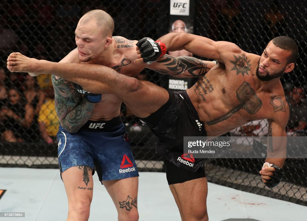 Thiago Santos of Brazil kicks Anthony Smith in their middleweight bout during the UFC Fight Night event at Mangueirinho Arena on February 03, 2018 in Belem, Brazil.