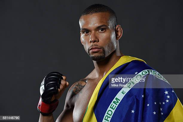 Thiago Santos of Brazil poses for a portrait backstage during the UFC 198 event at Arena da Baixada stadium on May 14, 2016 in Curitiba, Parana,...