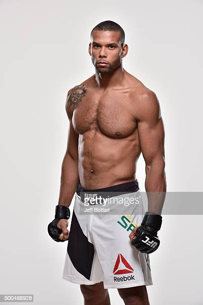 Thiago Santos of Brazil poses for a portrait during a UFC portrait session at MGM Grand Garden Arena on December 6 2015 in Las Vegas Nevada