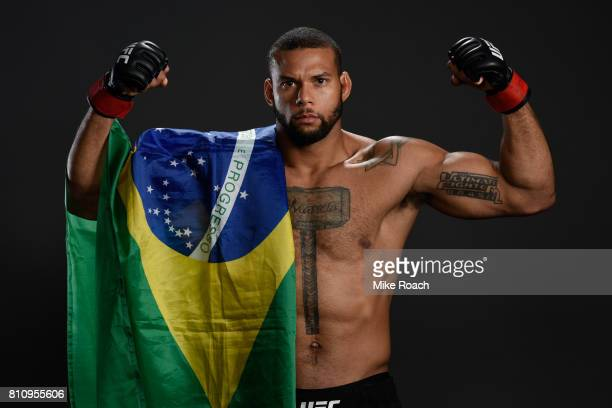 Thiago Santos of Brazil poses for a post fight portrait backstage during the UFC 213 event at TMobile Arena on July 8 2017 in Las Vegas Nevada