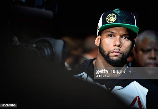 Thiago Santos of Brazil prepares to enter the Octagon before facing Gerald Meerschaert in their middleweight bout during the UFC 213 event at TMobile...