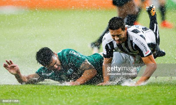 Thiago Santos of Palmeiras and Jean Mota of Santos in action during the match between Palmeiras and Santos for the Brasileirao Series A 2017 at...
