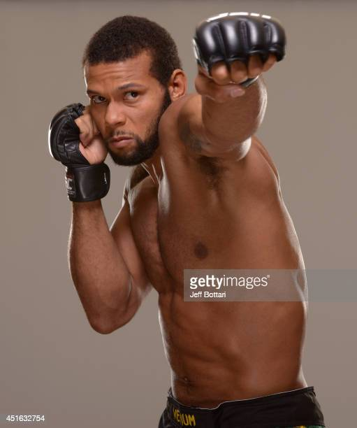 Thiago Santos poses for a portrait during a UFC photo session at the Mandalay Bay Convention Center on July 2 2014 in Las Vegas Nevada