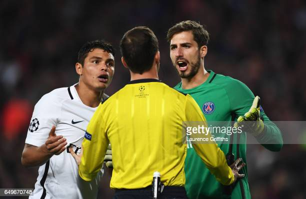 Thiago Silva and Kevin Trapp of PSG appeal as Barcelona are awarded a penalty during the UEFA Champions League Round of 16 second leg match between...