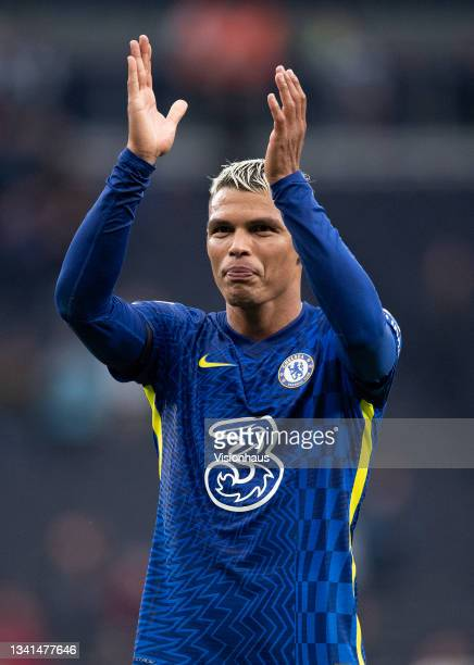 Thiago Silva applauds the fans Chelsea fans after the Premier League match between Tottenham Hotspur and Chelsea at Tottenham Hotspur Stadium on...
