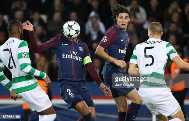 Thiago Silva Edinson Cavani of PSG during the UEFA Champions League group B match between Paris SaintGermain and Celtic FC at Parc des Princes on...