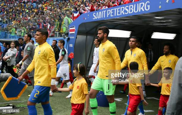 Thiago Silva goalkeeper of Brazil Alisson Casemiro enter the pitch before the 2018 FIFA World Cup Russia group E match between Brazil and Costa Rica...