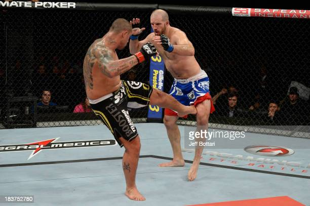 Thiago Silva kicks Matt Hamill in their light heavyweight bout during the UFC Fight Night event at the Ginasio Jose Correa on October 9, 2013 in...