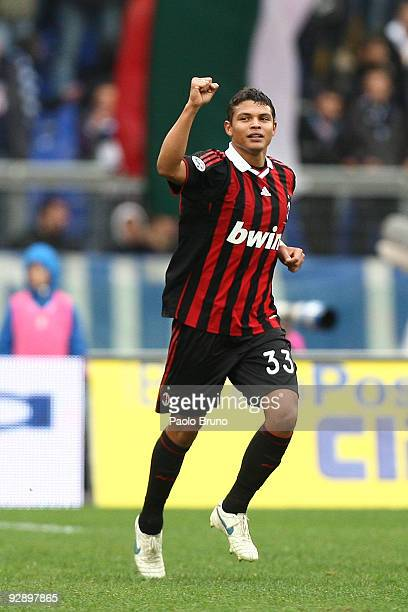 Thiago Silva of AC Milan celebrates the opening goal during the Serie A match between SS Lazio and AC Milan at Stadio Olimpico on November 8 2009 in...