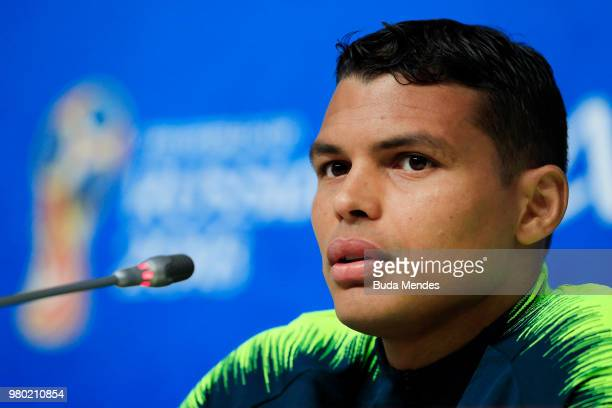 Thiago Silva of Brazil attends a press conference during the FIFA World Cup 2018 at Saint Petersburg Stadium on June 14 2018 in Saint Petersburg...