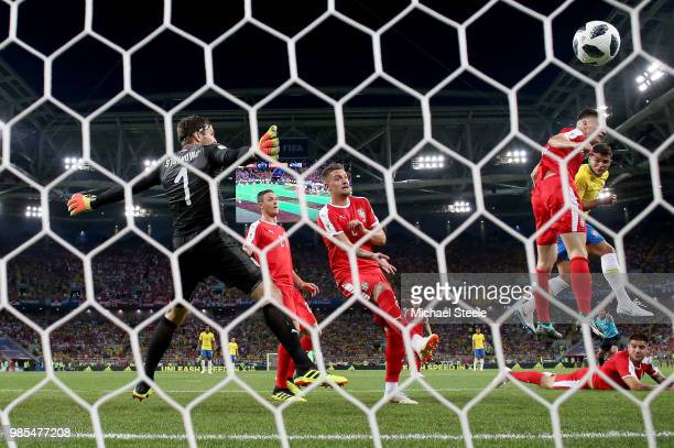 Thiago Silva of Brazil beats Nikola Milenkovic of Serbia to the ball to score his sides second goal during the 2018 FIFA World Cup Russia group E...