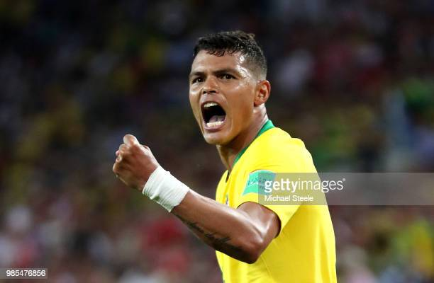 Thiago Silva of Brazil celebrates after scoring his sides second goal during the 2018 FIFA World Cup Russia group E match between Serbia and Brazil...