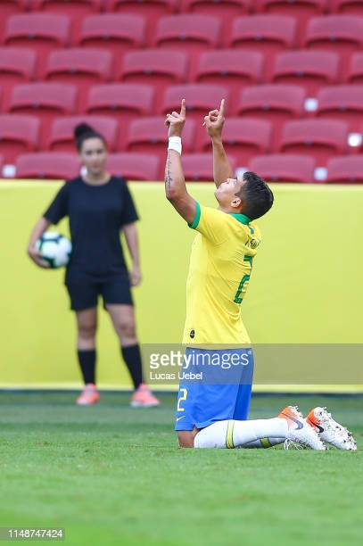 Thiago Silva of Brazil celebrates after scoring the second goal of his team during the match Brazil v Honduras at BeiraRio Stadium on June 9 in Porto...