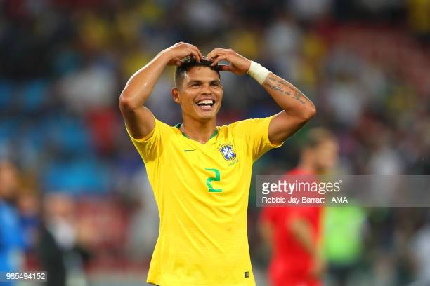 Thiago Silva of Brazil celebrates at the end of the 2018 FIFA World Cup Russia group E match between Serbia and Brazil at Spartak Stadium on June 27...