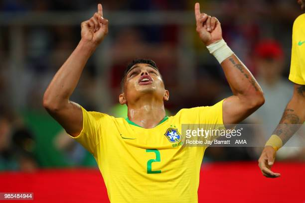 Thiago Silva of Brazil celebrates scoring a goal to make it 02 during the 2018 FIFA World Cup Russia group E match between Serbia and Brazil at...