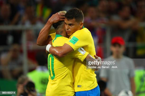 Thiago Silva of Brazil celebrates scoring a goal to make it 02 with Neymar of Brazil during the 2018 FIFA World Cup Russia group E match between...