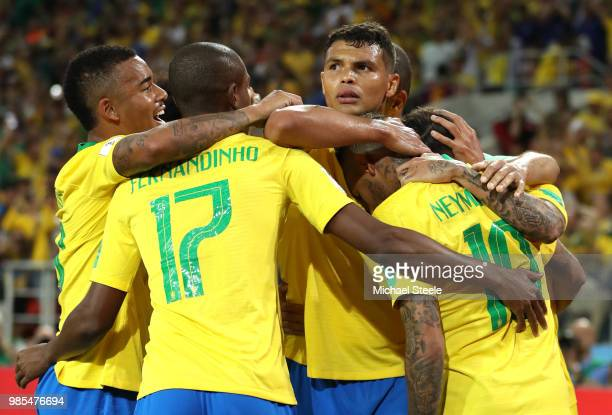 Thiago Silva of Brazil celebrates scoring his sides second goal during the 2018 FIFA World Cup Russia group E match between Serbia and Brazil at...