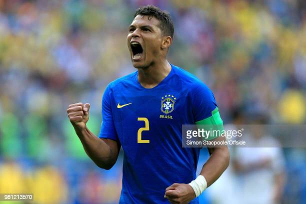 Thiago Silva of Brazil celebrates their 20 victory during the 2018 FIFA World Cup Russia Group E match between Brazil and Costa Rica at Saint...
