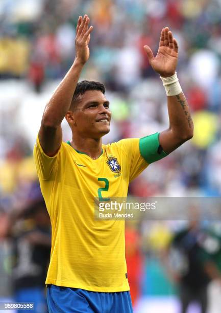 Thiago Silva of Brazil celebrates victory following the 2018 FIFA World Cup Russia Round of 16 match between Brazil and Mexico at Samara Arena on...