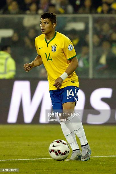 Thiago Silva of Brazil drives the ball during the 2015 Copa America Chile Group C match between Brazil and Venezuela at Monumental David Arellano...