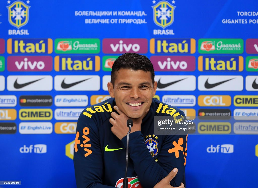 Thiago Silva of Brazil during a Brazil Press Conference at Tottenham Hotspur Training Centre on May 29, 2018 in Enfield, England.