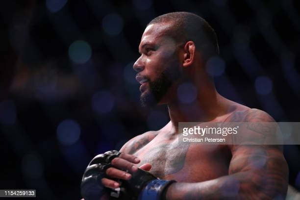 Thiago Silva of Brazil enters the octagon in his UFC light heavyweight championship fight during the UFC 239 event at T-Mobile Arena on July 6, 2019...