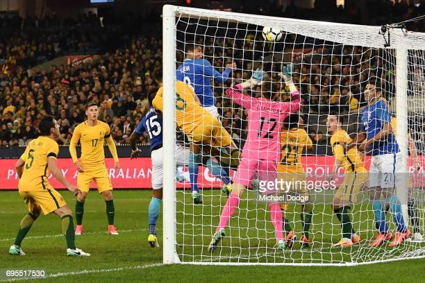 Thiago Silva of Brazil heads the ball for a goal with teammates during the Brasil Global Tour match between Australian Socceroos and Brazil at...