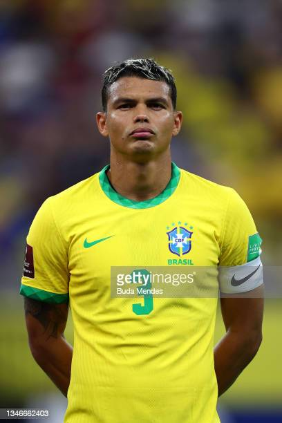 Thiago Silva of Brazil looks on prior to a match between Brazil and Uruguay as part of South American Qualifiers for Qatar 2022 at Arena Amazonia on...