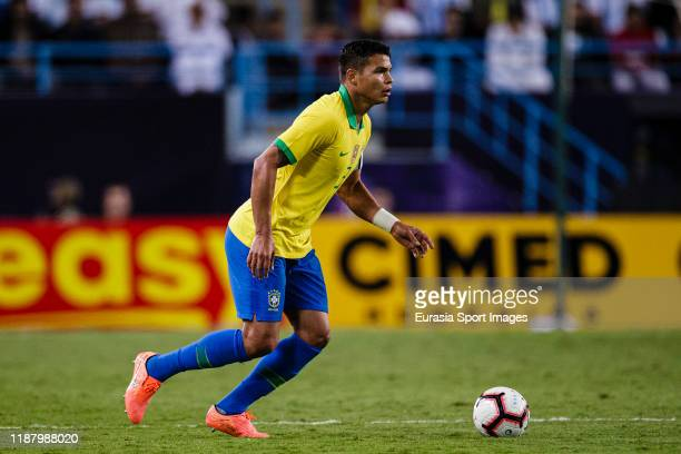 Thiago Silva of Brazil looks to bring the ball down during the international friendly match between Brazil and Argentina at the King Saud University...
