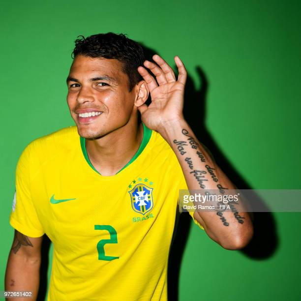 Thiago Silva of Brazil poses during the official FIFA World Cup 2018 portrait session at the Brazil Team Camp on June 12 2018 in Sochi Russia