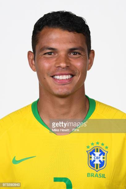 Thiago Silva of Brazil poses for a portrait during the official FIFA World Cup 2018 portrait session at the Brazil Team Camp on June 12 2018 in Sochi...