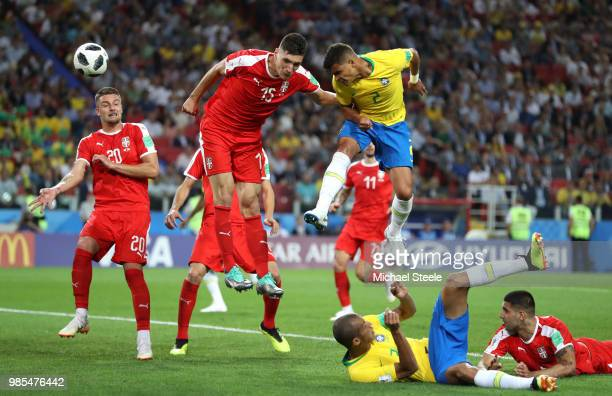 Thiago Silva of Brazil scores his sides second goal during the 2018 FIFA World Cup Russia group E match between Serbia and Brazil at Spartak Stadium...