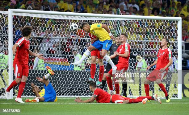 Thiago Silva of Brazil scores the second goal for his team during the 2018 FIFA World Cup Russia group E match between Serbia and Brazil at Spartak...