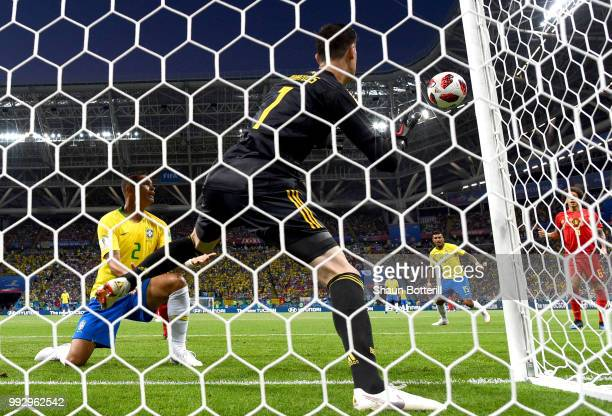 Thiago Silva of Brazil watches as his attempt at goal hits the post as Thibaut Courtois of Belgium looks on during the 2018 FIFA World Cup Russia...