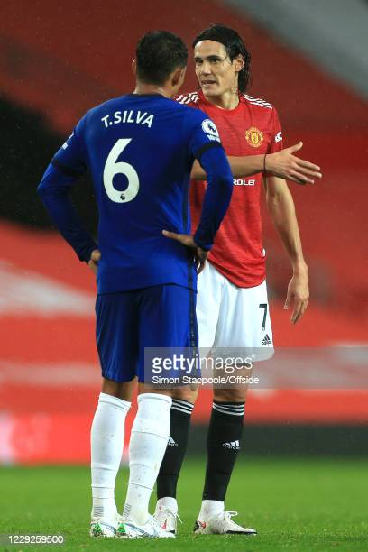 Thiago Silva of Chelsea and Edinson Cavani of Man Utd speak after the Premier League match between Manchester United and Chelsea at Old Trafford on...