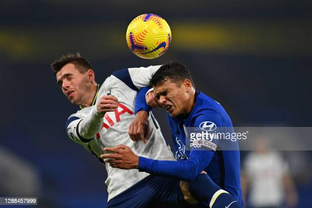 Thiago Silva of Chelsea and Giovani Lo Celso of Tottenham Hotspur battle for the ball during the Premier League match between Chelsea and Tottenham...