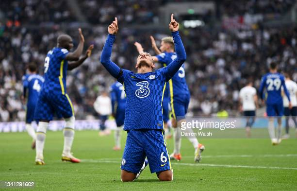 Thiago Silva of Chelsea celebrates after scoring their side's first goal during the Premier League match between Tottenham Hotspur and Chelsea at...